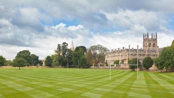 Panoramic shot of university with rugby fields